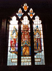 Window depicting the fire & the restoration of the church